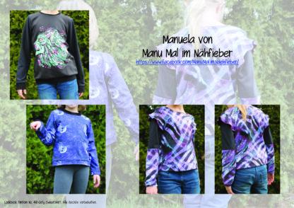 Designbeispiele zum Girly Sweatshirt timtom No.40, genäht von Manuela von Manu Mal im Nähfieber