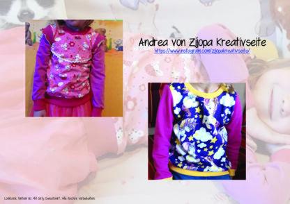 Designbeispiele zum Girly Sweatshirt timtom No.40, genäht von Andrea von Zijopa Kreativseite