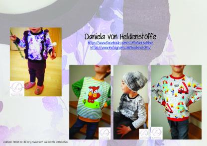 Designbeispiele zum Girly Sweatshirt timtom No.40, genäht von Daniela von Heldenstoffe